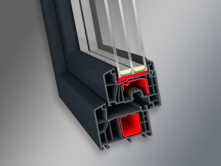 przekrój okna systemu okiennego IDEAL 7000