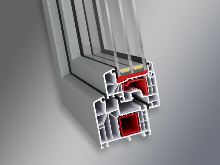 przekrój okna systemu okiennego IDEAL 8000